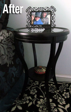 After: DIY Mirrored Nightstand