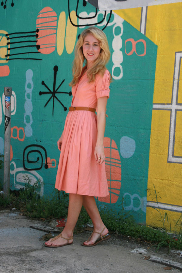 Pink vintage belted dress