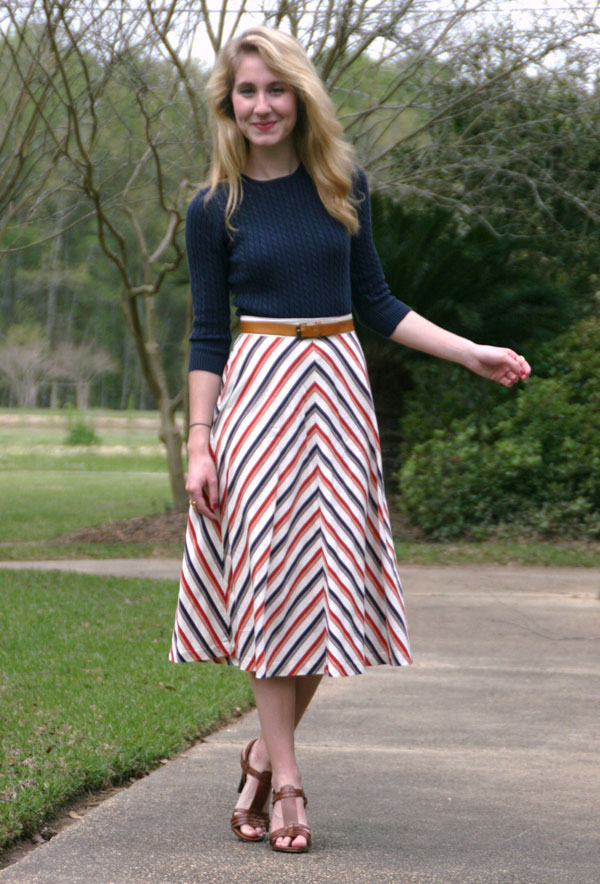 Striped skirt with blue sweater