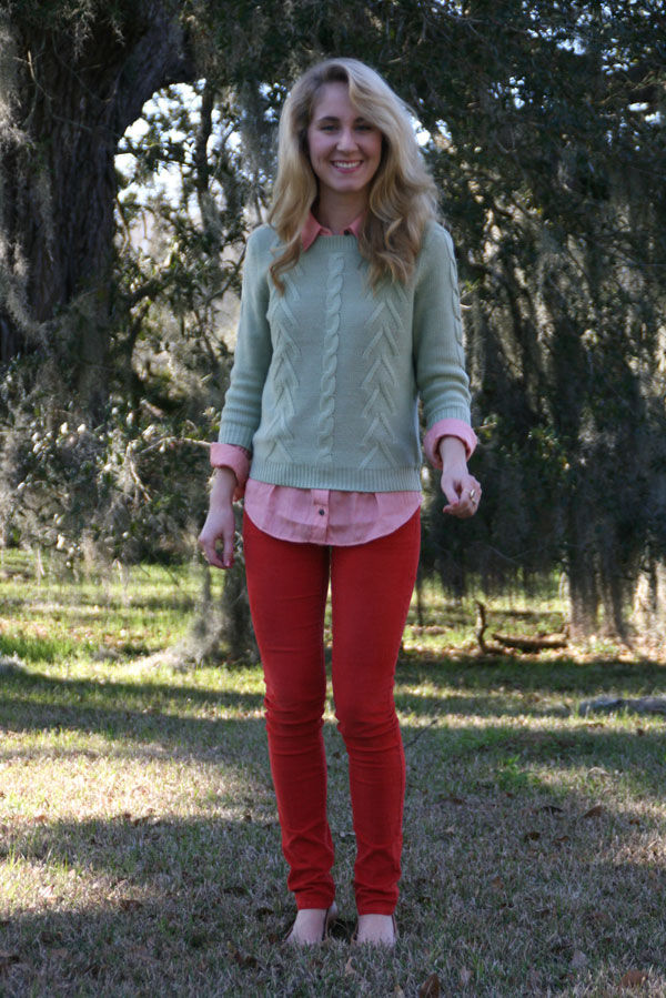 Salmon button-up, red skinny jeans, green sweater