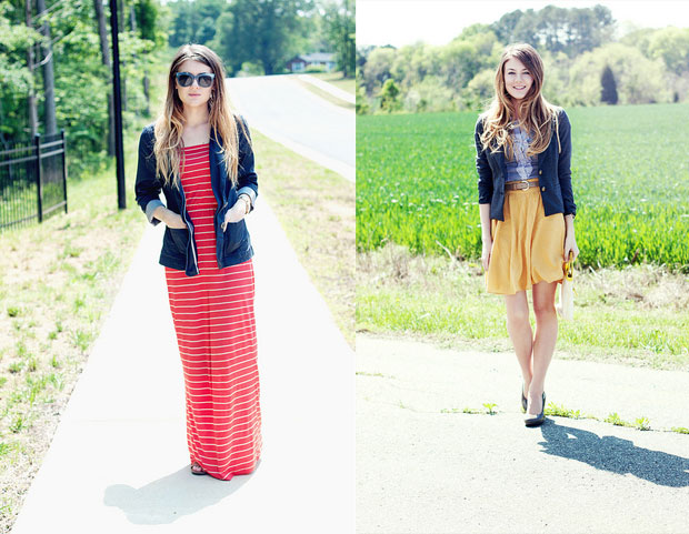 Red striped maxidress, yellow skirt and cardigan