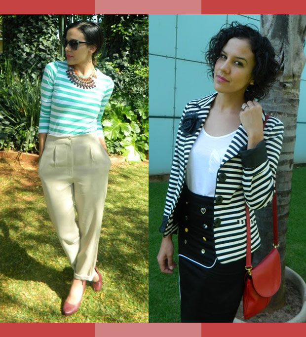 Striped top and statement necklace, striped blazer and red bag