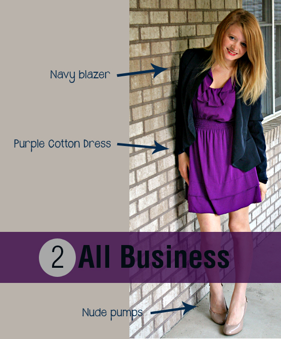 Navy blazer, purple cotton dress, and nude pumps