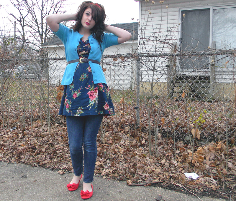 Floral dress, blue sweater, skinny jeans, and red flats