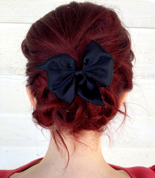 Easy Updo With Hairbow