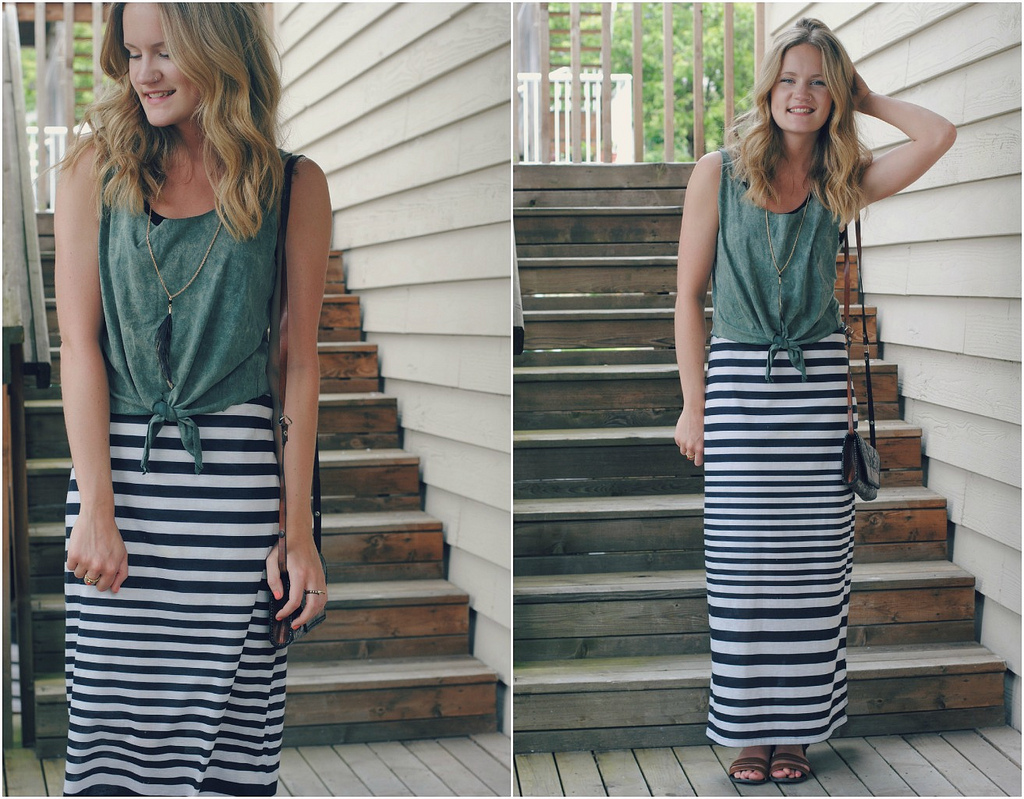 Striped maxiskirt and top