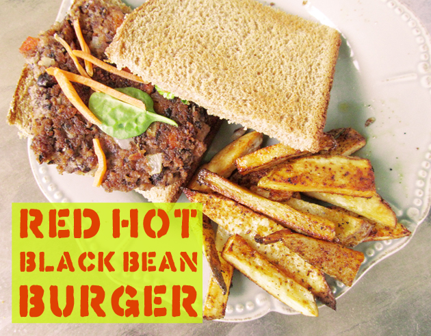 ... com – Guilt-Free BBQ: Red Hot Black Bean Burger + Baked French Fries